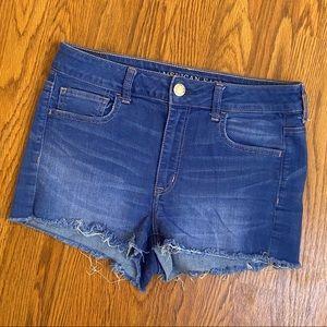 American Eagle Medium Wash Hi-Rise Shortie Shorts